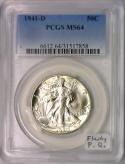 1941-D Walking Liberty Half Dollar PCGS MS-64; Flashy P.Q.