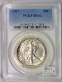 1917 Walking Liberty Half Dollar PCGS MS-62; Nice Coin!