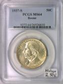 1937-S Boone Commemorative Half Dollar PCGS MS-64; Mintage 2,506