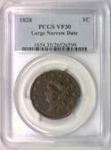 1828 Large Cent PCGS VF-30; Large Narrow Date
