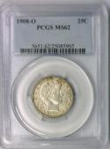 1908-O Barber Quarter PCGS MS-62