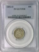 1852-O Seated Liberty Dime PCGS VF-20