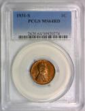 1931-S Lincoln Wheat Cent PCGS MS-64 RD