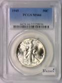 1945 Walking Liberty Half Dollar PCGS MS-66; Blazer!
