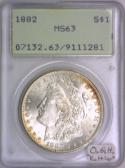 1882 Morgan Dollar PCGS MS-63; Old Green Holder