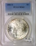 1881-S Morgan Dollar PCGS MS-64; Premium Quality, Looks 65!