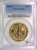 1946-D Walking Liberty Half Dollar PCGS MS-66; Great Color!
