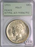 1921 Peace Dollar PCGS MS-63; Old Green Holder