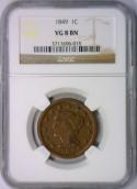 1849 Large Cent NGC VG-8