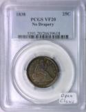 1838 Seated Liberty Quarter PCGS VF-20; No Drapery; Open Claws Variety