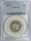 1865-S Seated Liberty Quarter PCGS F-12; Mintage 41,000