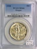 1938 Oregon Half Dollar PCGS MS-66; Mintage 6,006; Attractive Creamy White!
