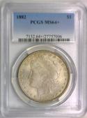 1882 Morgan Dollar PCGS MS-64+; Attractive Light Tone.