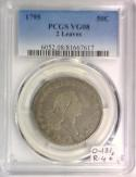 1795 2 Leaves Flowing Hair Half Dollar PCGS VG-08; O-131, R-4+
