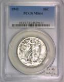 1942 Walking Liberty Half Dollar PCGS MS-64; Premium Quality, White!