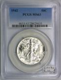 1942 Walking Liberty Half Dollar PCGS MS-63; Looks Better!