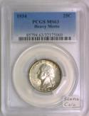1934 Washington Quarter PCGS MS-63; Heavy Motto; Scarce Coin!