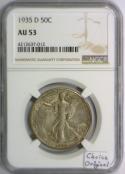 1935-D Walking Liberty Half Dollar NGC AU-53; Choice Original!