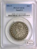 1812/1 Bust Half Dollar PCGS VF-30; Small 8; Choice Original!