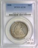 1858 Seated Liberty Half Dollar PCGS AU-50; Repunched Date, WB-107