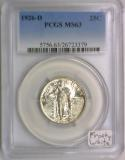 1926-D Standing Liberty Quarter PCGS MS-63; Frosty White!