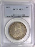 1822 Bust Half Dollar PCGS VF-35; O-106, R-3
