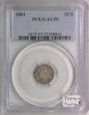 1861 Three Cent Silver PCGS AU-55; Topsy-Turvy!