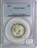 1897 Barber Quarter PCGS MS-61; Nice Coin!