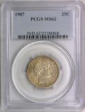 1907 Barber Quarter PCGS MS-62