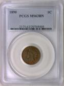 1890 Indian Cent PCGS MS-63 BN