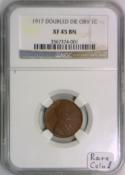 1917 Doubled Die Obverse Lincoln Wheat Cent NGC XF-45; Rare Coin!