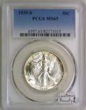 1935-S Walking Liberty Half Dollar PCGS MS-65; Lustrous Beauty!