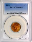 1871 Indian Head Cent PCGS MS-64 RB With Photo Seal; Premium Quality!