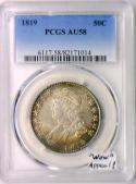 1819 Capped Bust Half Dollar PCGS AU-58;
