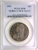 1828 Sq Base 2, Sm 8, Lg Let Bust Half Dollar; PCGS XF-40; Overton-116