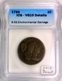 1794 Large Cent ICG VG-10 Details; Still Decent!