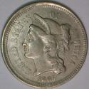 1865 Three Cent Nickel; Choice AU!