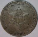 1853 Three Cent Silver; XF; Original