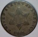 1853 Three Cent Silver; F; Nice Original
