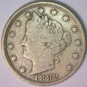 1889 Liberty Nickel; Nice Original VF