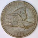 1857 Flying Eagle Cent; VF-XF