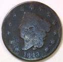 1823 Coronet Head Large Cent; AG; Scarce!