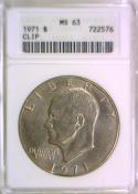 1971 Eisenhower Dollar; ANACS MS-63; Clip Mint Error