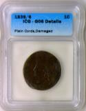 1839/6 Coronet Large Cent; Plain Cords; ICG G-06 Details