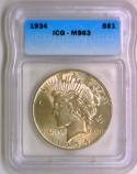 1934 Peace Dollar ICG MS-63