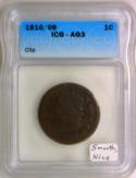 1810/9 Classic Head Large Cent; Planchet Clip Mint Error; ICG AG-3; Smooth, Nice