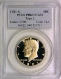 1981-S Proof Type 2 Kennedy Half Dollar PCGS PR-69 DCAM