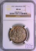 1937 Arkansas Commemorative Half Dollar NGC MS-66; Mintage 5,505