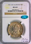 1921 2X2 Alabama Commemorative Half Dollar NGC MS-64+ With CAC; Mintage 6,006