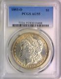 1893-O Morgan Dollar PCGS AU-55; Very Nice Semi-Key Date!